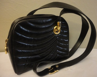 JEAN MICHEL NOUVEAU Black Quilted Leather Purse, chain coin purse made in France