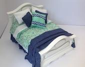 Dolls House Luxury Dressed white wood 112th Double Bed  Ingrid