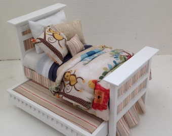 Dolls House Luxury Dressed 1/12th Single Bed and Trundle - Jacob