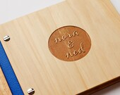 custom wedding guest book wood engraved guestbook anniversary engagement bridal shower // petite album