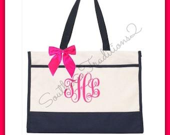Monogram Bridesmaid Gift - Monogram Tote Bag - Set of 8 Bridesmaid Beach Bag Tote - Will you be my Bridesmaid