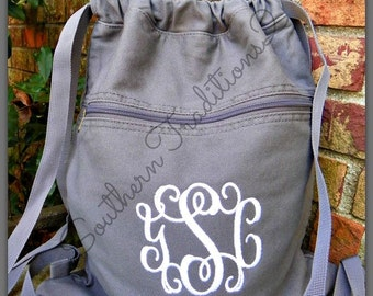 Monogram Cinch Sack - Monogram Book Bag - Personalized Backpack - Back to school