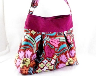 Crossbody Bag, Amy Butler, Disco Flowers, Pink and Aqua, Modern Pattern, Pleated Purse, Shoulder Bag