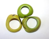 Two Shades of Lime, One Yellow, Tagua Nut Rounded Rings, Donuts, Natural Beads, Eco Friendly Beads, EcoBeads