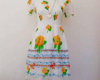 French 1960 Vintage white flowers printed dress