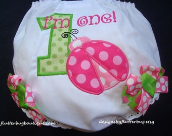 READY TO SHIP - 12-18 month size 1st Birthday Bloomers - Ladybug Design