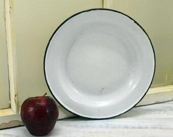 White Enamel Bowl from Germany - farmhouse plate - Kitchen Decor