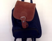Vintage 90's Leather & Nylon Dark Blue Mini Backpack