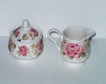 Vintage Cream & Sugar Bowl Creamer Nikko Tableware Summer Glade Pink Roses Floral Romantic Shabby Chic Dinnerware Serving Wedding Tea