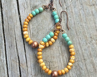 Boho Earrings, Boho Jewelry, Colorful Hoop Earrings