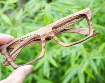 Knight Zebra Wood Takemoto Prescription Sunglasses Large Glasses