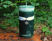 SNOW & EVERGREEN Crystal Mottled Pillar Candle For Winter Magick, Holiday Celebrations, Circle Of Friends