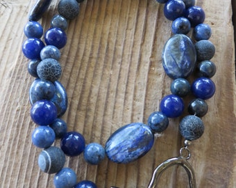 Sodalite and Blue Agate Beaded Necklace