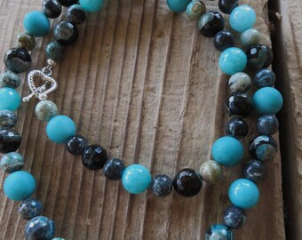 Jade Agate and Azurite Beaded Necklace