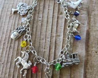 Inside Out Movie Inspired Charm and Crystal Bracelet