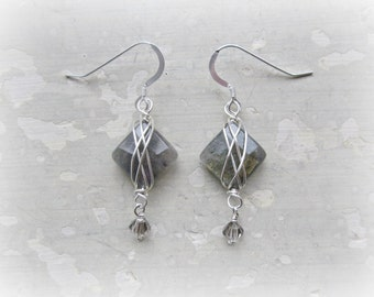 Labradorite Earrings, Sterling Earrings,Faceted Stone Earrings,Gemstone Earrings,Faceted Labradorite, Wire Wrapped Earrings,Sterling Dangles