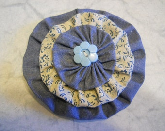 Fabric Flower Brooch, Flower Pin, Flower Accessory,in Blue with Light Blue Button