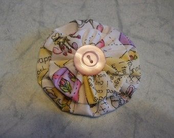 Small Fabric Flower for a Girl with a Pink Button Center