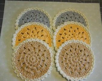 Coasters Set of 6 Crochet in Light Gray, Light Tan and Medium Yellow