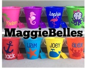 Personalized plastic Beach pail bucket with shovel monogram party gift favor basket crab mermaid whale octopus flip flop NAME AND IMAGE