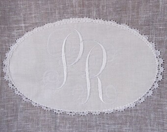 Embroidered Monogram Curtain, Sheer White Window Panel, French Cafe Curtain, Machine Embroidery, Monogram Gift