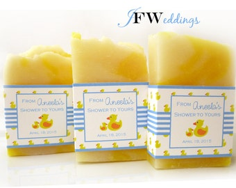 30 Handmade Vegan Soap Favors   Momma+Duckies   Raspberry Lemonade   Custom Label   Wedding   Bridal   Baby   In Clear Bag   Made in 7 days