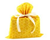 Big Organic Cotton Gift Bag in Bright Yellow for Mother's Day, Birthday, Shower Gift, or Any Occasion