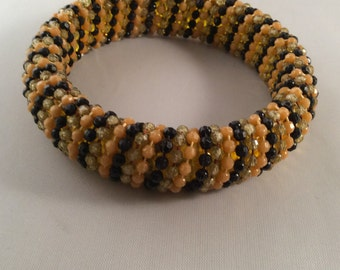 Vintage Beaded Striped Bangle