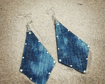 Denim Earrings- Bleached Acid Washed Jeans Arrow Triangle Crystal