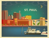 St. Paul skyline Art Print, St. Paul Minnesota Wall Art, St. Paul horizontal print, St. Paul Nursery, St. Paul MN Art Gift - style E8-O-STP