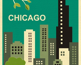 Chicago Art Print, Chicago Skyline, Chicago Artwork Lincoln Park, Chicago Map Sears Tower, Chicago Nursery Art Print, Illinois art E8-O-CHI