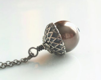 Silver Acorn Necklace - Swarovski pearl in antiqued gunmetal grey on delicate blackened silver chain - Squirrel Forest Nut