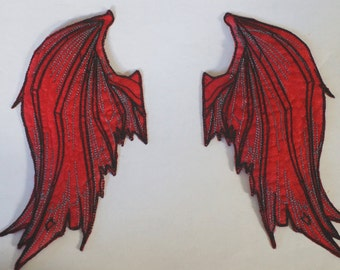 Red Devil Wing Iron On Patch