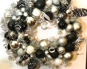 Handmade Christmas Wreath: Black, Silver and White Zebra Wreath with battery operated LED lights on a silver garland wreath, Holiday Deco