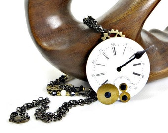 OOAK Steampunk Necklace with Large Watch Face with Large Hand and Brass Discs and Black Swarovski Crystal Crystals