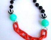 Vintage plastic chain and Gumball bead necklace.