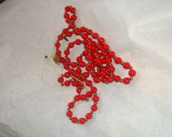Destash Vintage Jewelry Necklace Small Red Beads Gold tone spacers 40 inches Repair Upcyle Recyle Reuse Harvest