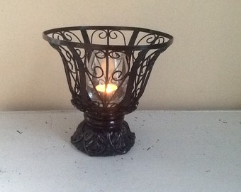 Black Wire Bowl, Black Iron Candle Holder, Tall Black Planter, Wrought Iron Decor