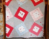 Pink and Grey Quilt Girls and Foxes