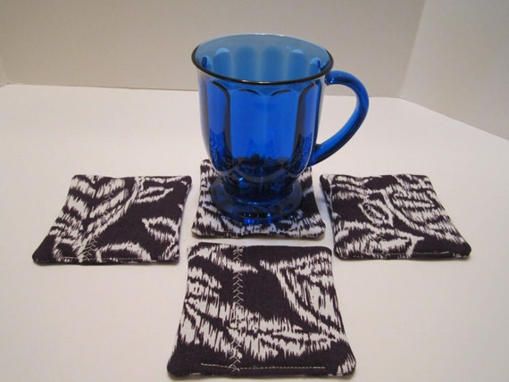 Fabric Drink Coasters in Navy and White Linen Blend with Leaf Design - Set of 4