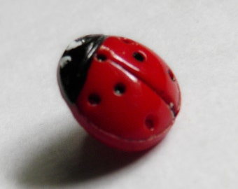 VIntage Red Glass Lady Bug Button