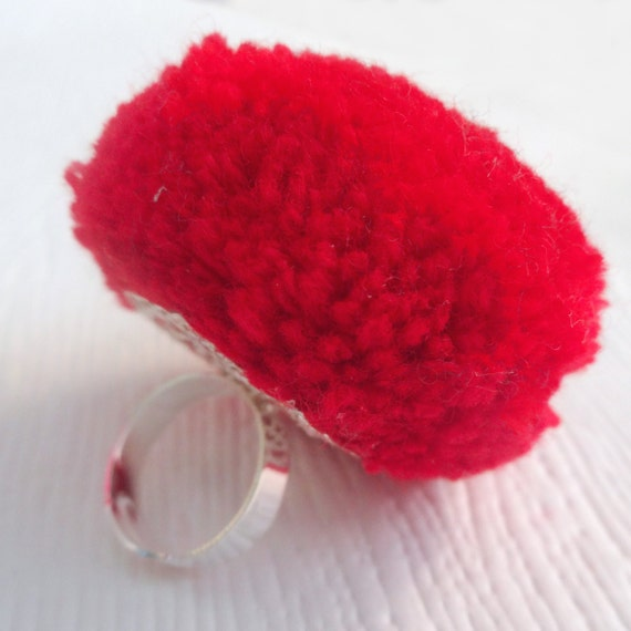 Red Pom Pom Cocktail Ring, womens cocktail rings, statement rings, fun ...
