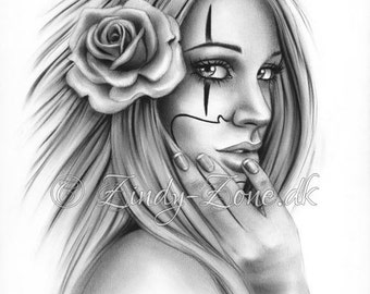 Chicano Tattoo Clown Girl Art Print Glossy Emo Fantasy Girl Zindy Nielsen