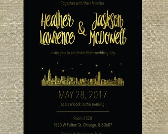 "Chicago Illinois ""Lovetown"" Wedding Suite gold foil on black card stock LETTERPRESS DEPOSIT LISTING"