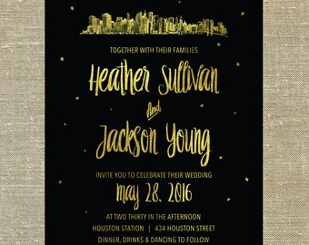"New York City ""Lovetown"" Wedding Suite gold foil on black card stock LETTERPRESS DEPOSIT LISTING"