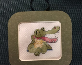 Alligator Cross Stitch Ornament