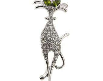 Silver Cat Brooch Pin 1004652