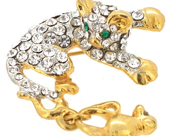 Golden Kitty And Mice Brooch Pin 1004662