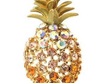 Multicolor Golden Pineapple Crystal Pin Brooch 1013191
