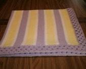 Knit Purple & Yellow Baby Blanket / Afghan / Lapghan With Crochet Trim